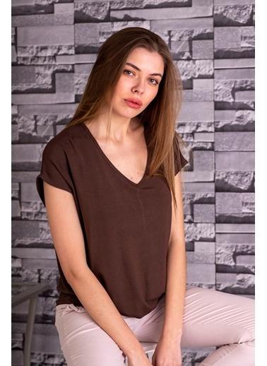 Stamina  Bayan Derin V Yaka Düşük Kısa Kol Bluz-5VS13 Kahve